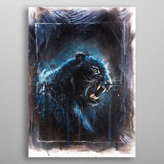 Black Panther Metal Wall Poster