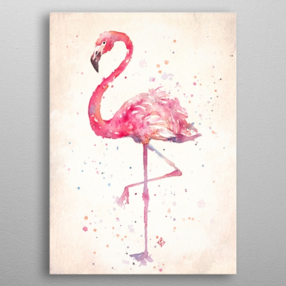 Pink Flamingo Metal Poster