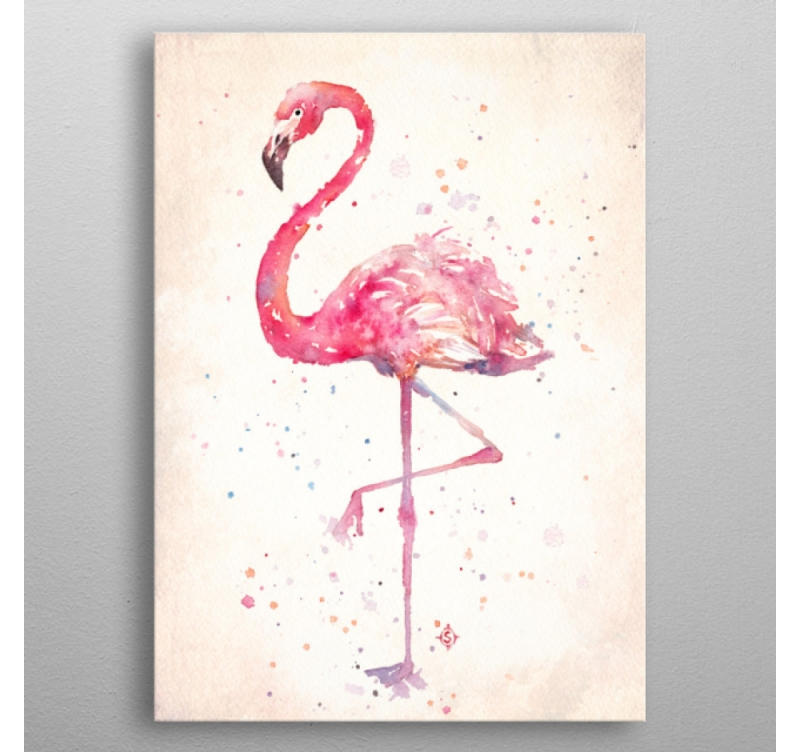 poster m tal flamant rose artwall and co. Black Bedroom Furniture Sets. Home Design Ideas