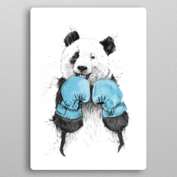 Boxing Panda Metal Poster