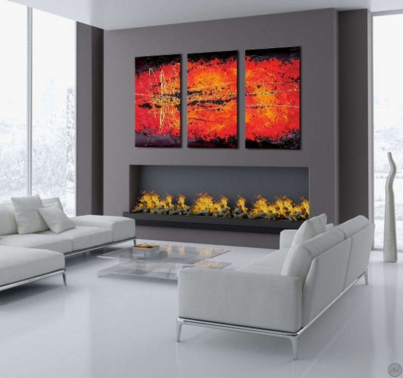 tableau triptyque abstrait lava. Black Bedroom Furniture Sets. Home Design Ideas