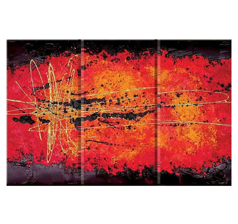 Tableau triptyque abstrait lava - Triptyque abstrait ...