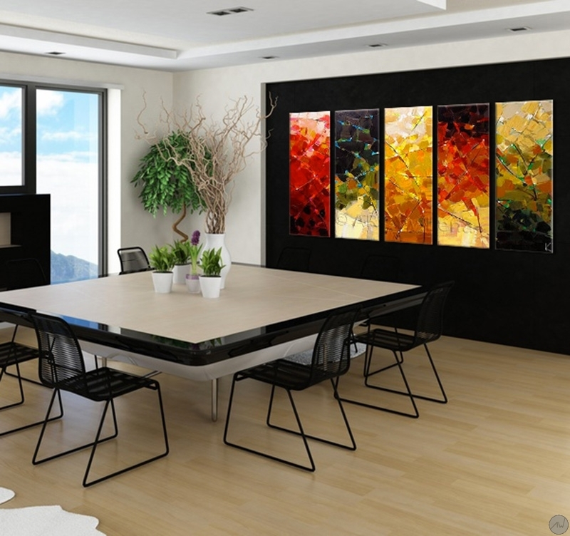 peinture abstraite moderne four seasons. Black Bedroom Furniture Sets. Home Design Ideas