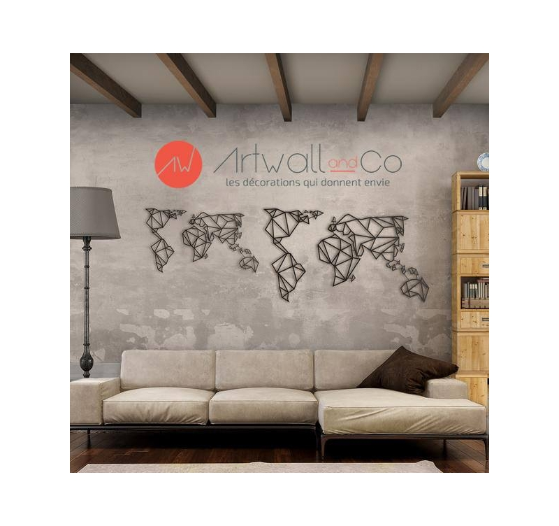 Deco Metal Carte Monde Artwall And Co