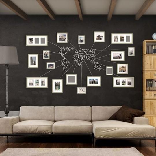 d coration murale m tal carte du monde blanche. Black Bedroom Furniture Sets. Home Design Ideas