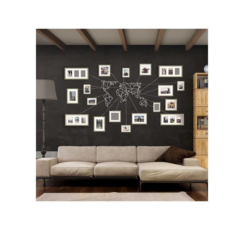 d coration murale m tal carte du monde blanche artwall. Black Bedroom Furniture Sets. Home Design Ideas
