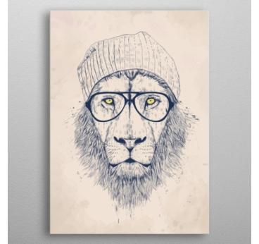 Poster Mural Métal Lion Cool