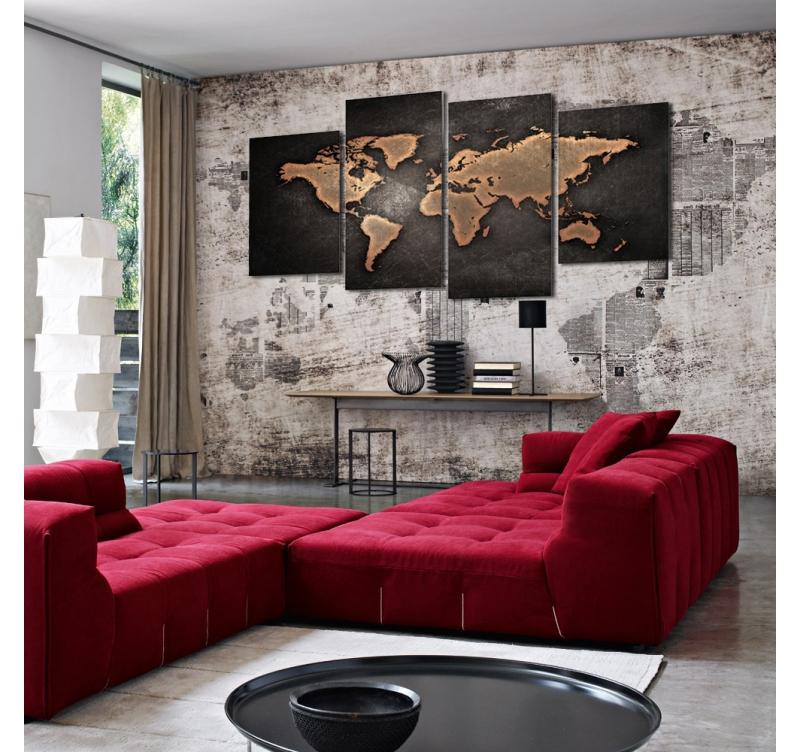 tableau multiple mappe monde vintage artwall and co. Black Bedroom Furniture Sets. Home Design Ideas