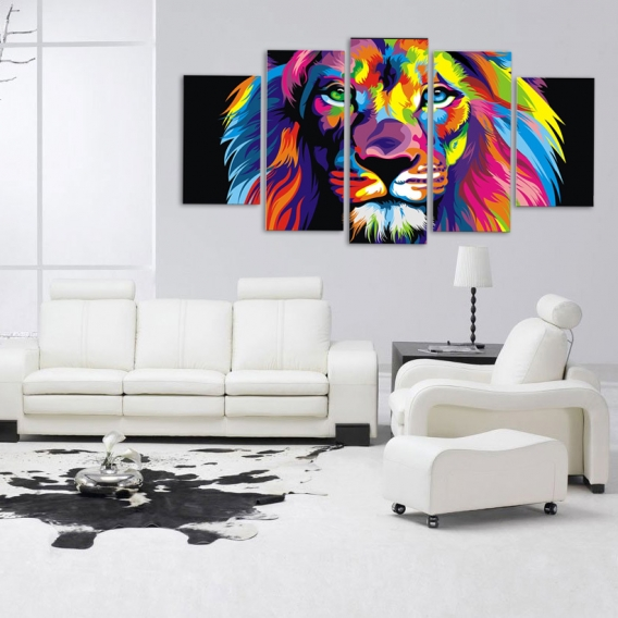 Large Pop Art Lion Canvas