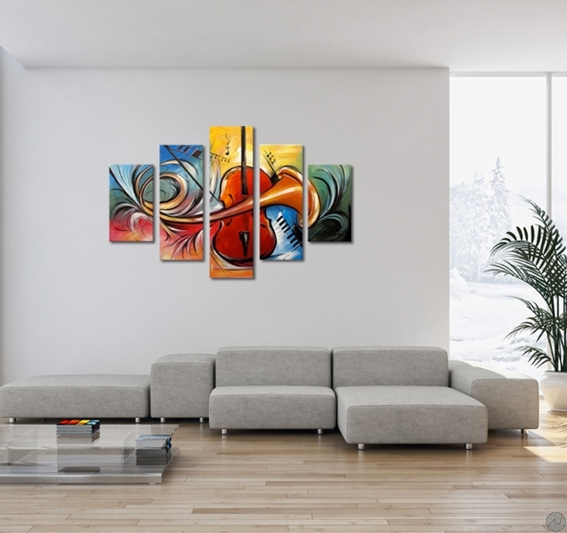 Abstract music modern painting artwall and co - Tableau contemporain abstrait design ...