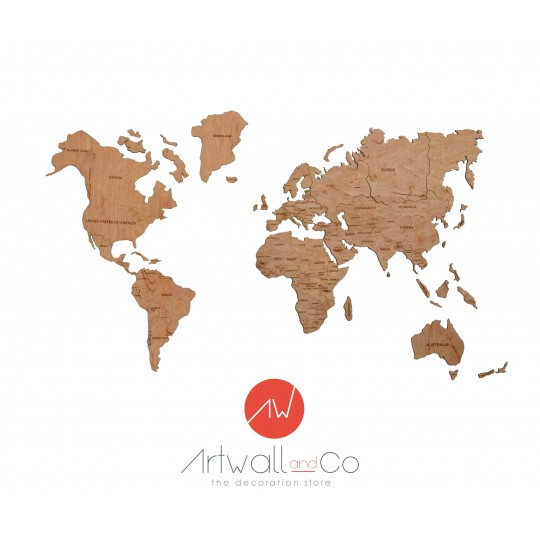 carte du monde bac World Map Wood Decoration   ArtWall And Co