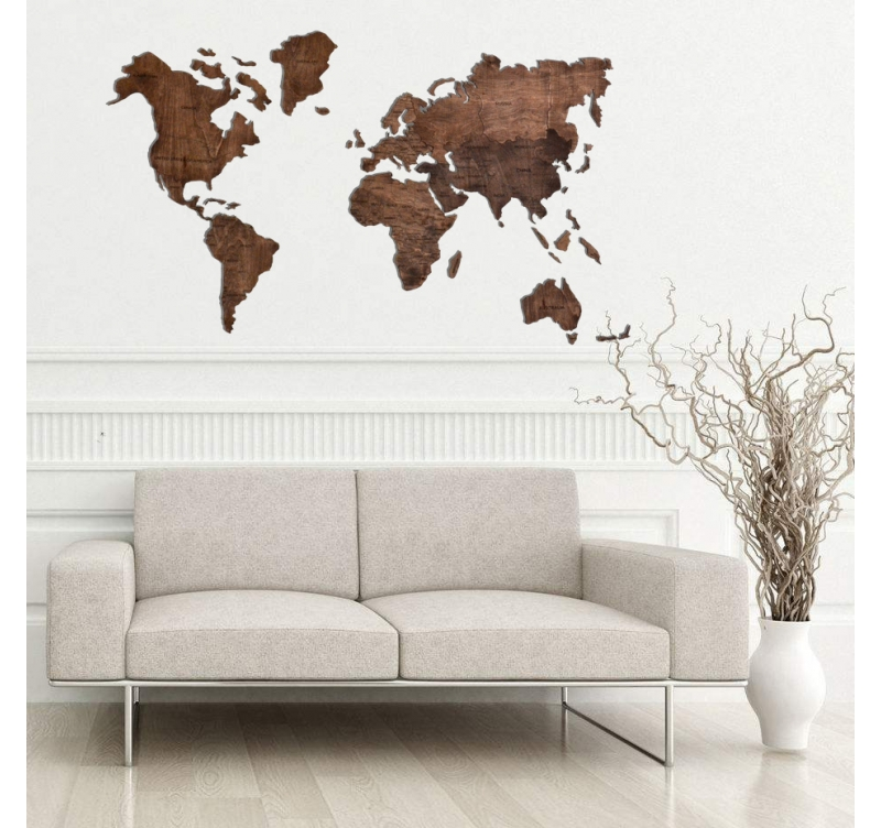 Decoration Murale Bois Planisphere Artwall And Co