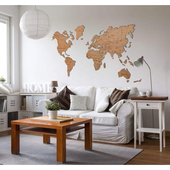 decoration bois carte du monde artwall and co