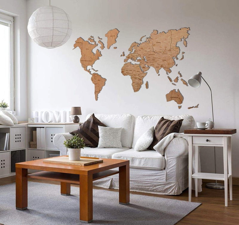 World map wood decoration artwall and co for Decoration maison games