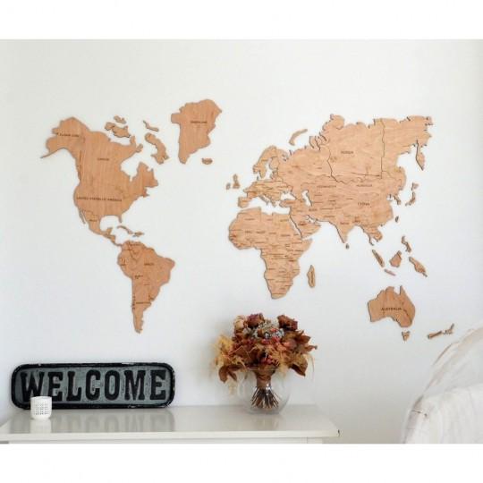 carte du monde bois Decoration Bois Carte du Monde   ArtWall And Co