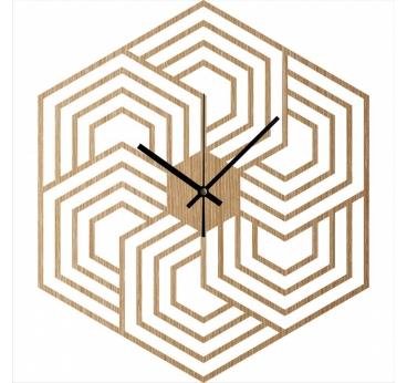 Horloge murale bois hexagon
