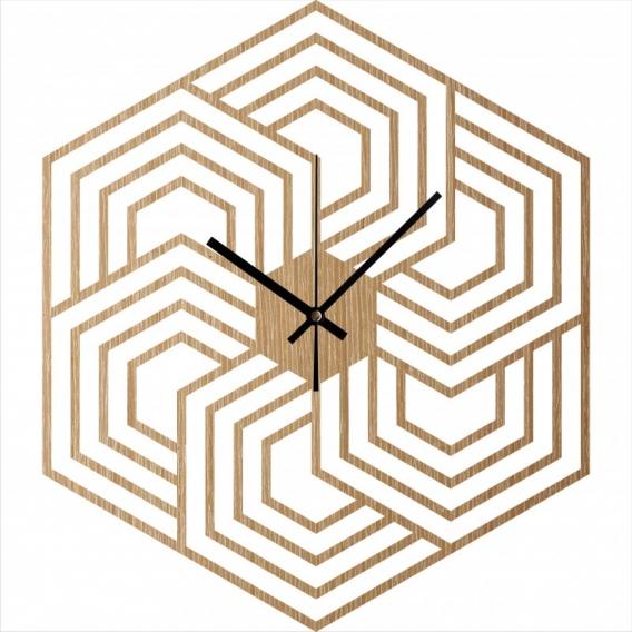 Hexagon Wood Wall Clock