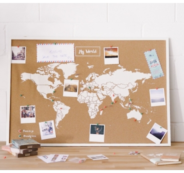 Cork World Map Decoration