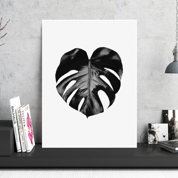 Tableau Aluminium Black Monstera