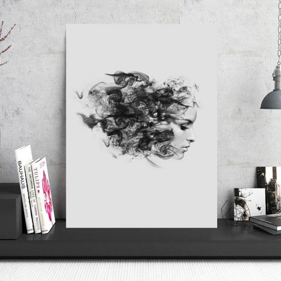 Tableau Moderne Femme Fumée