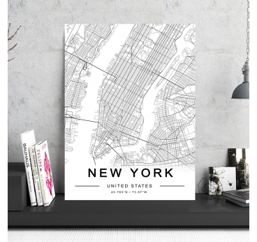 New York Map Aluminium Frame