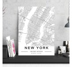 New York Map Aluminium Frame