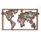 Wood Frame Decoration World Map