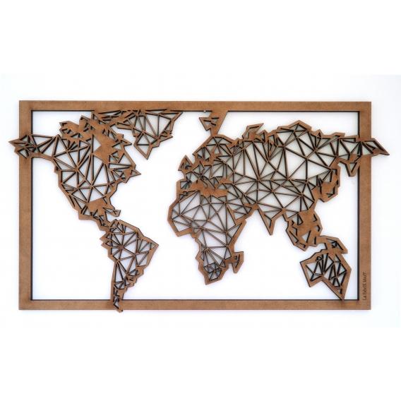 Wood Frame Decoration World Map