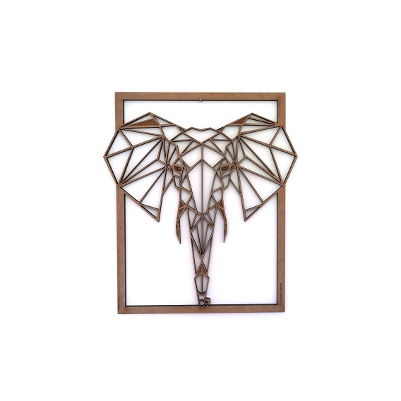Elephant wood Frame Decoration