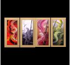 Tableau peinture à la main de violons avec des couleurs rouge, bleu, rose et verte