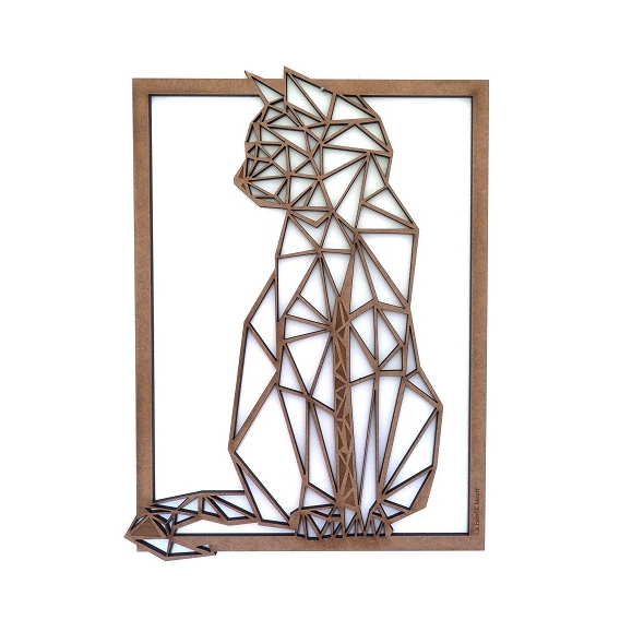 Wooden Frame Sitting Cat