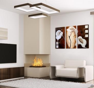 Peinture sur toile contemporaine de fleurs blanches pour un intérieur moderne