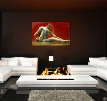 Tableau peinture à la main d'une scène de danse classique dans un salon moderne
