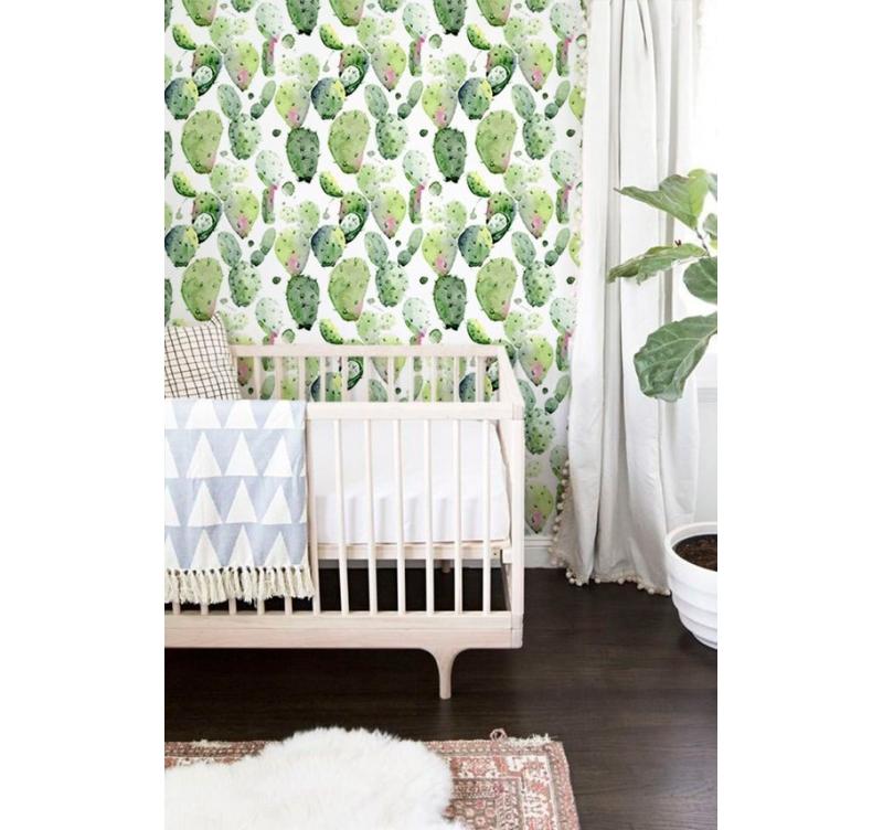 papier peint cactus aquarelle artwall and co. Black Bedroom Furniture Sets. Home Design Ideas
