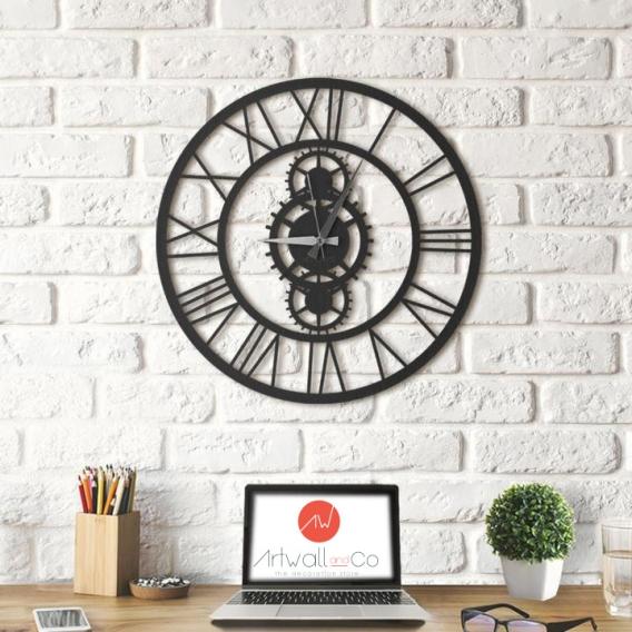 Horloge Metal Rouages