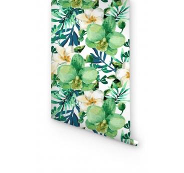 Papier Peint Orchidée Vert