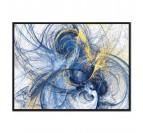 Tableau Moderne Bleu or