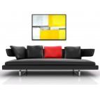 Tableau abstrait jaune gris
