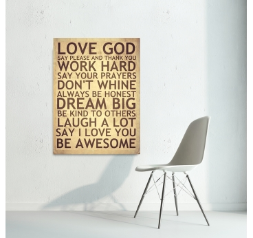 Happiness Rules Decorative Art Print for cool interior