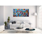 Autumn Blue Abstract Painting