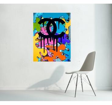 Contemporary Canvas Chanel Graffiti