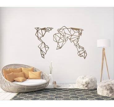 Décoration murale en bois de la mappe monde en dans une version origami pour votre intérieur