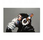 Toile peinture pop art fait à la main de notre singe musicale avec plusieurs couleurs
