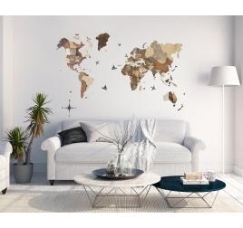 Carte du monde bois 3D