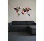 Carte du monde papier multicolore