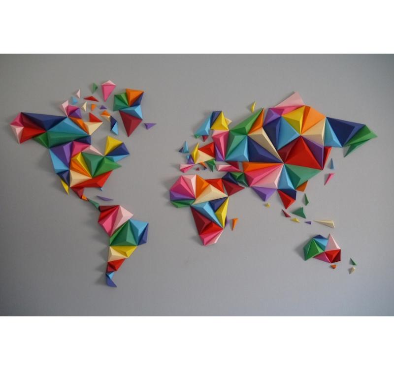 Carte Du Monde Origami.Multicolor Worldmap Paper Decoration Artwall And Co