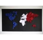 Carte du monde papier tricolore