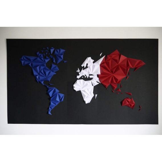 World Map Tricolor Paper