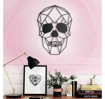 Skull Metal Wall Decoration on a pink interior
