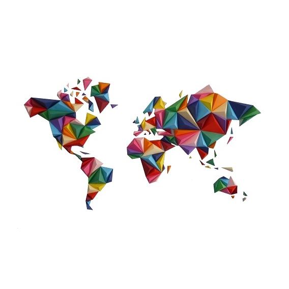 Multicolor Worldmap Paper decoration